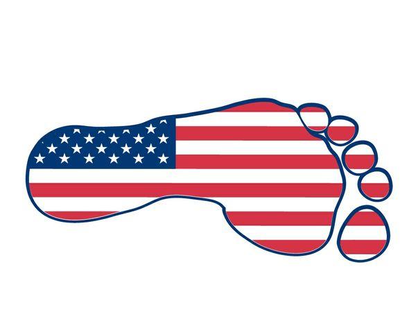 American flag footprint