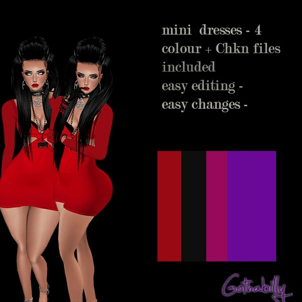 Mini dresses - 4 colours - chkn and png files