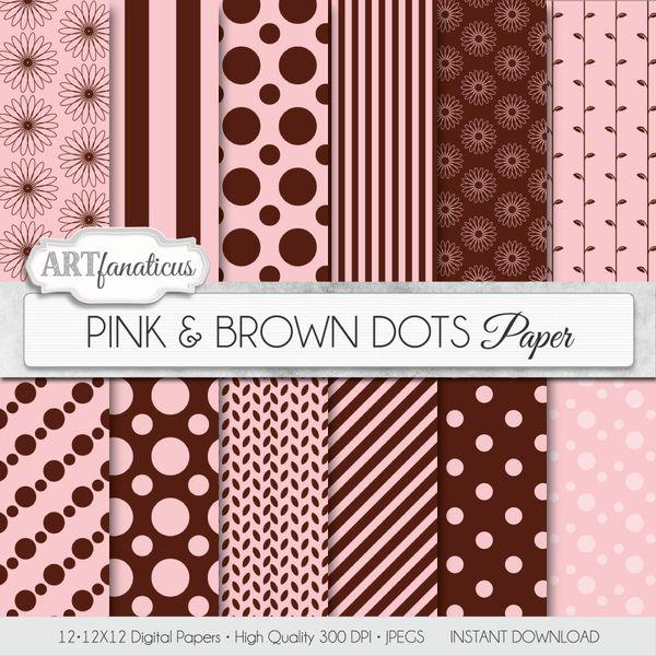 PINK & BROWN DOTS - DIGITAL PAPER