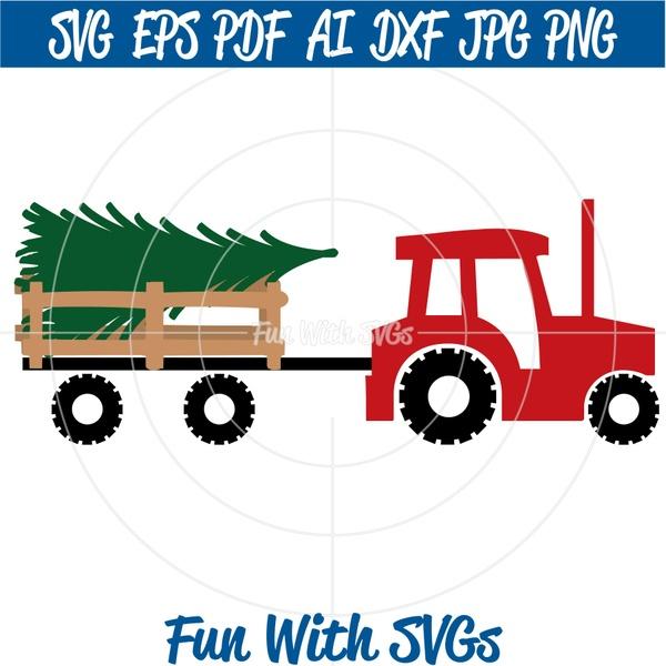 Christmas Tractor SVG, Christmas Tree svg, Christmas Tree Tractor SVG, Winter, SVG Files
