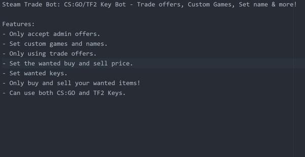 Steam Trade Bot: CS:GO/TF2 Key Bot - Trade offers, Custom Games, Set name & more!