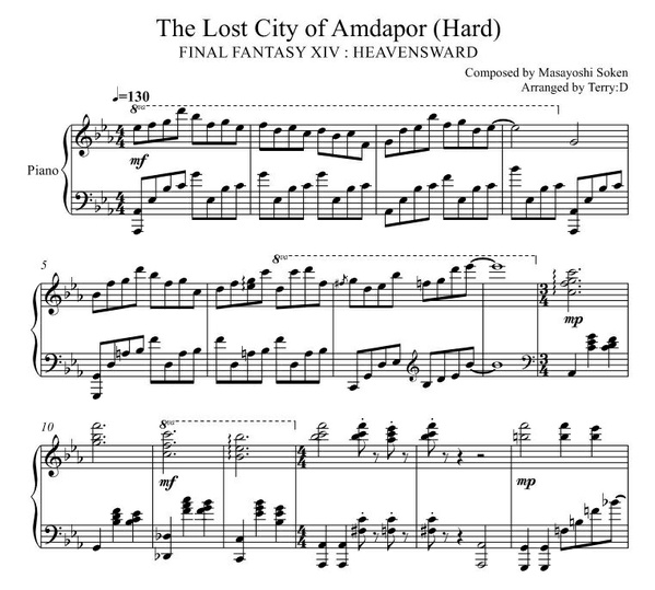 Final Fantasy XIV - The lost City of Amdapor (Hard mode) for piano. Arr.by Terry:D