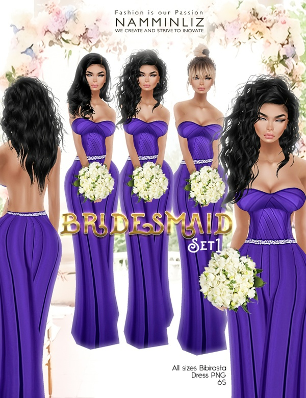 Bridesmaid set1 imvu Bibirasta dress all sizes PNG