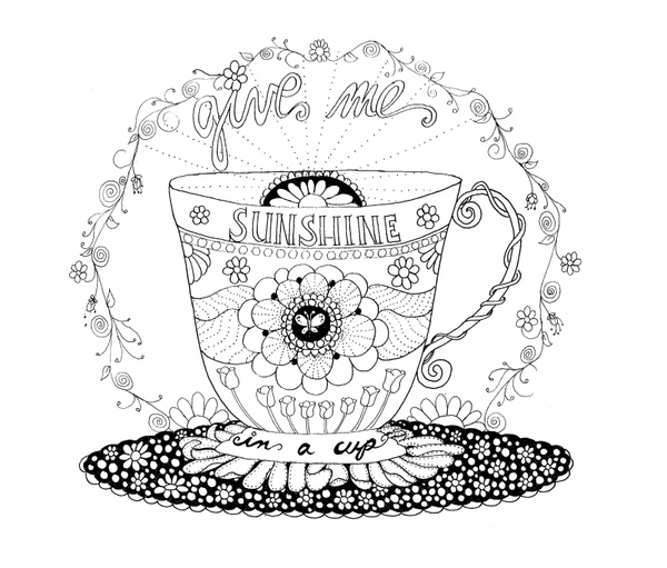 Cup of Sunshine Coloring Pages