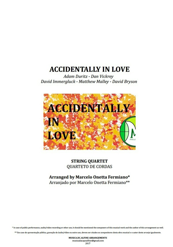 Accidentally In Love | Counting Crows | String Quartet | Score and Parts | Download