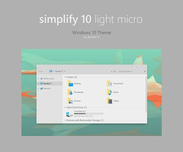 Simplify 10 Light Micro - Windows 10 Theme