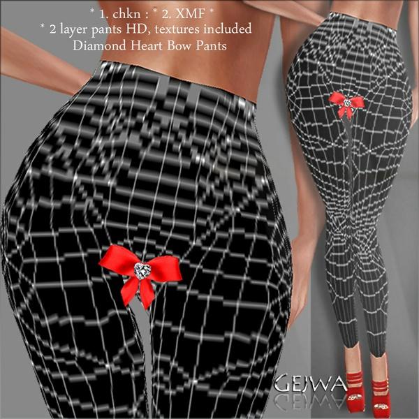 Diamond Heart bow pants IMVU MESH & TEXTURE