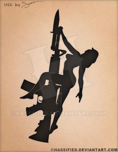 Rifle Girl - printable, vector, svg, art