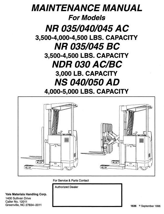 Yale Truck NDR030AC/BC, NR035/040/045AC, NR035/045BC, NS040/050AD Service Manual