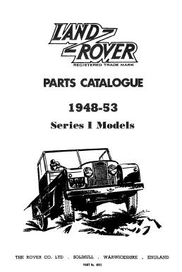 Land Rover Series I (1948-1953) Parts Catalogue