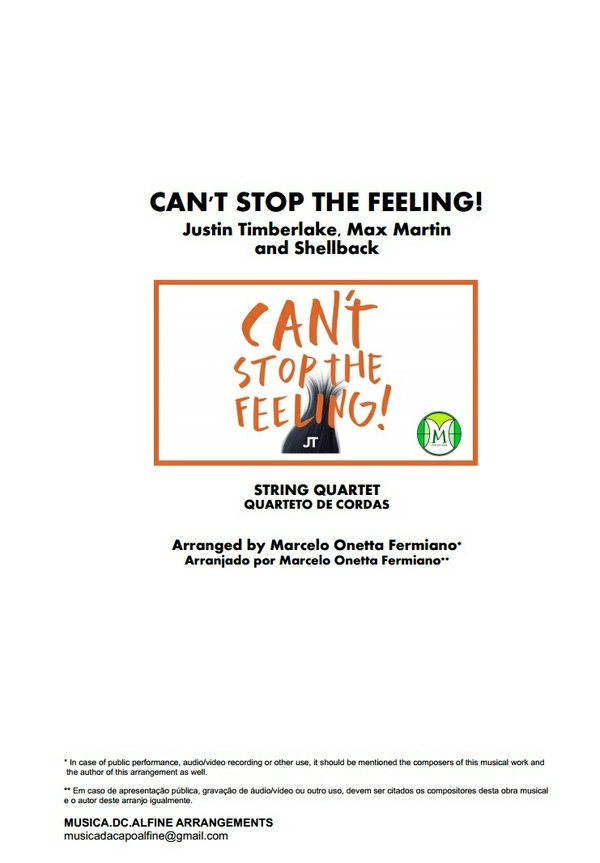 Can't Stop The Feeling - J. Timberlake - String Quartet - Score and parts