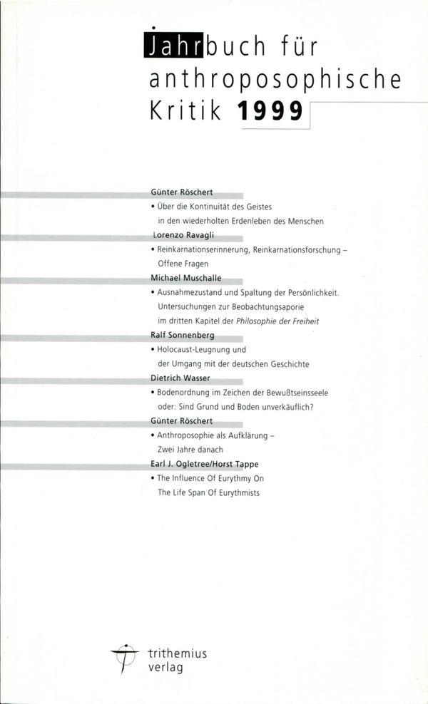 Jahrbuch für anthroposophische Kritik 1999