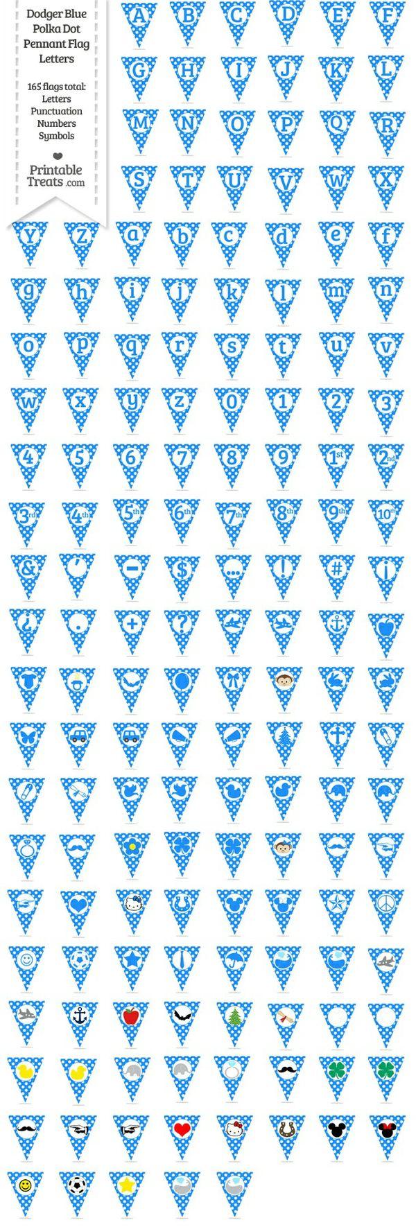 165 Dodger Blue Polka Dot Pennant Flag Letters Password