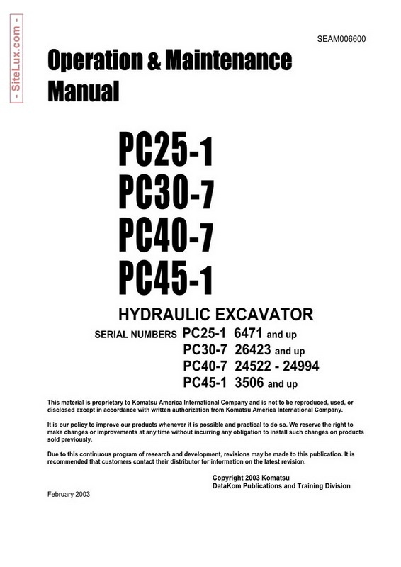 Komatsu PC25-1, PC30-7, PC40-7, PC45-1 Hydraulic Excavator OM Manual - SEAM006600