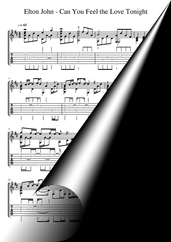Can You Feel the Love Tonight (Sheet Music + TAB)