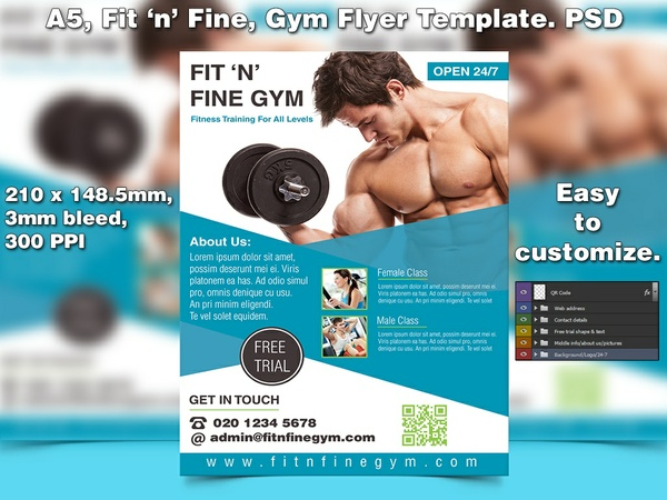 Fit 'n' fine gym Flyer Template (A5 PSD)