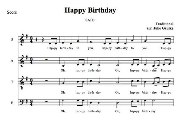 Happy Birthday SATB basic