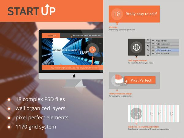 Startup Website 18 Layers PSD Template