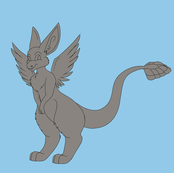 angel dragon lineart