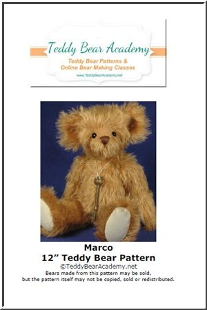 "Marco - 12"" Artist Teddy Bear Pattern w/ resell rights of finished bear"