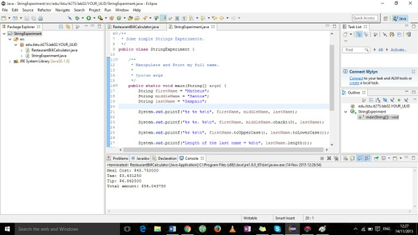 RestaurantBillCalculator and  StringExperiment java programs