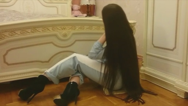 Anastasia Nesterova - Tailbone Length Brunette Hair Play