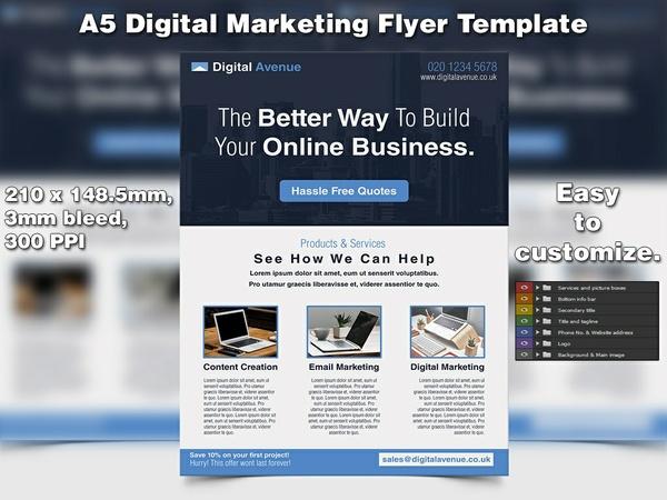 Digital Marketing Flyer Template (A5, PSD)