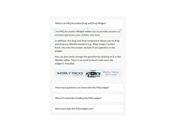 FAQ Accordion Drag & Drop Weebly Widget