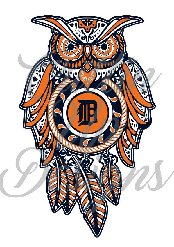 Detroit Tigers Dreamcatcher Sugar Skull Owl SVG Cutting File for Cricut or Cameo