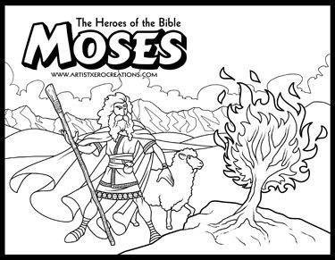 The Heroes Of Bible Coloring Pages Moses And Burning Bush