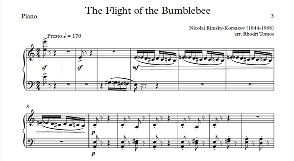 Rimsky-Korsakov Flight Of The Bumblebee sheet music Piano Accompaniment with Mp3 & mp4 play along