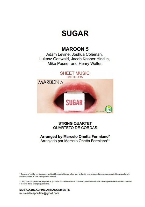 Db (key) - Sugar - Maroon 5 - String Quartet Sheet Music - Score and parts