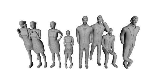 16th scale 3D Print ready people for architectural models.