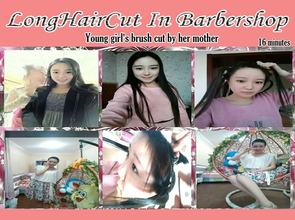 Young girl's brush cut by her mother