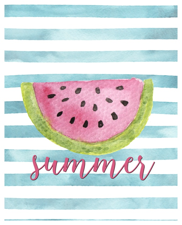 8x10 Summer- watermelon-watercolor digital download