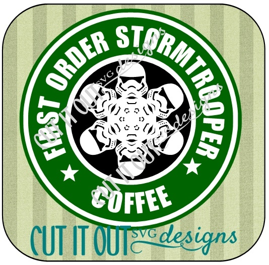 Star Wars: The Force Awakens Storm Trooper Snowflake Style Starbucks Coffee Labels SVG