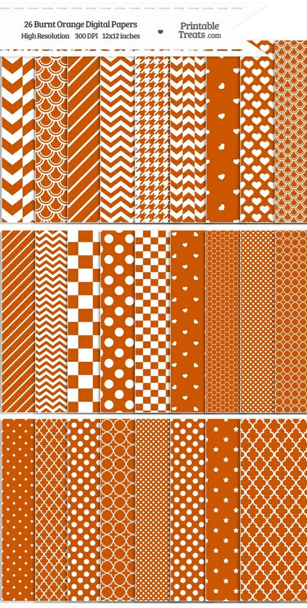 26 Burnt Orange Digital Paper Set Password