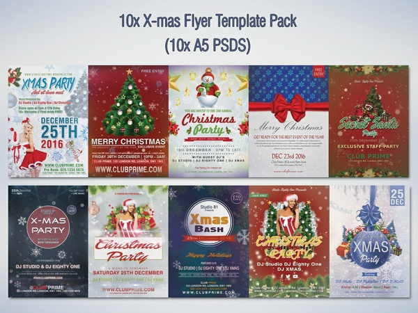 10x X-mas Flyer Template Pack (10x A5 PSDS)