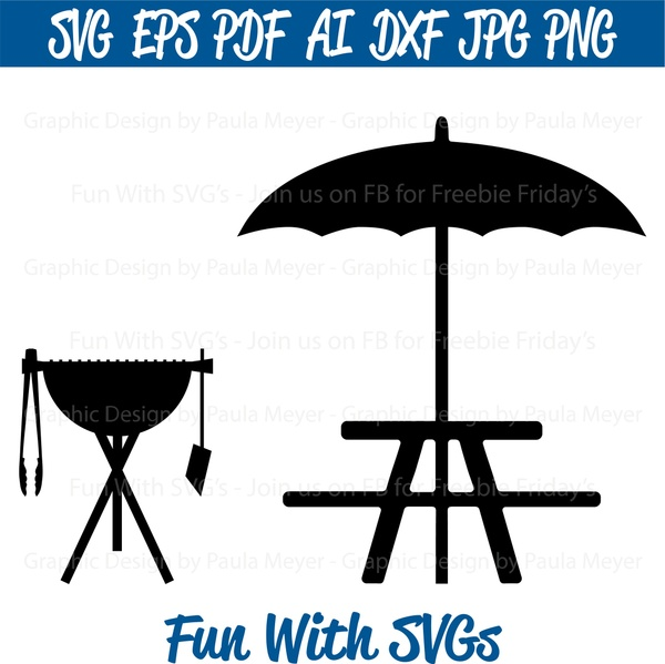 Grill and Picnic Table - SVG Cut File, High Resolution Printable Graphics and Editable Vector Art