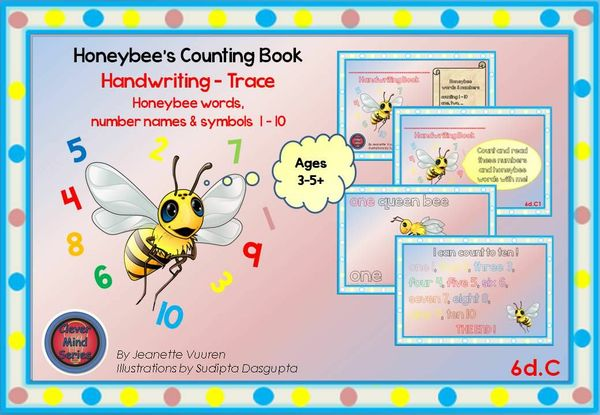 HANDWRITING CARDS: HONEYBEE WORDS & PICTURES & NUMBERS 1 - 10 - COLORED BACKGROUND - 6dC