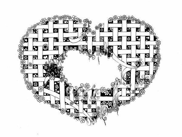 Tattered Heart Coloring Page