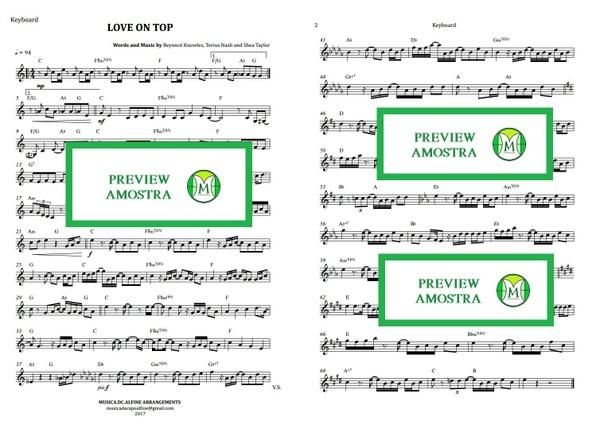 Love On Top - Beyoncé - Keyboard or Violin/Teclado ou Violino - Sheet Music