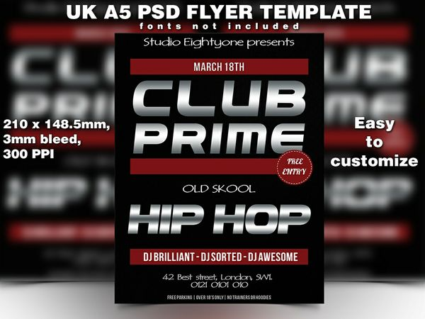 UK A5 bold chrome and red hiphop PSD flyer template