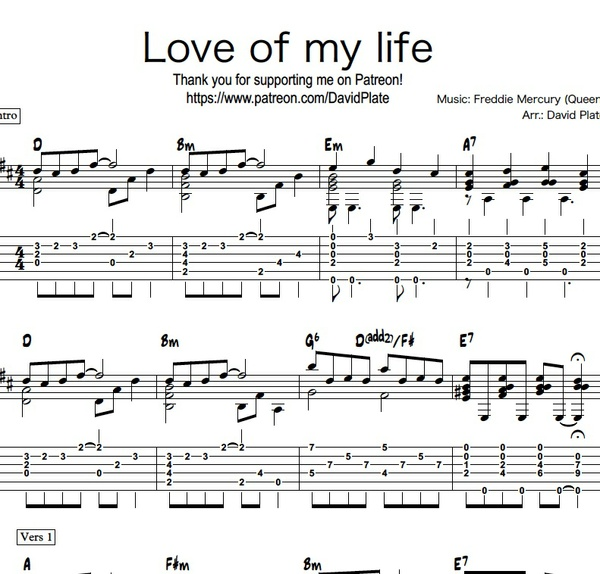 LOVE OF MY LIFE (Queen) Fingerstyle Guitar Arrangement