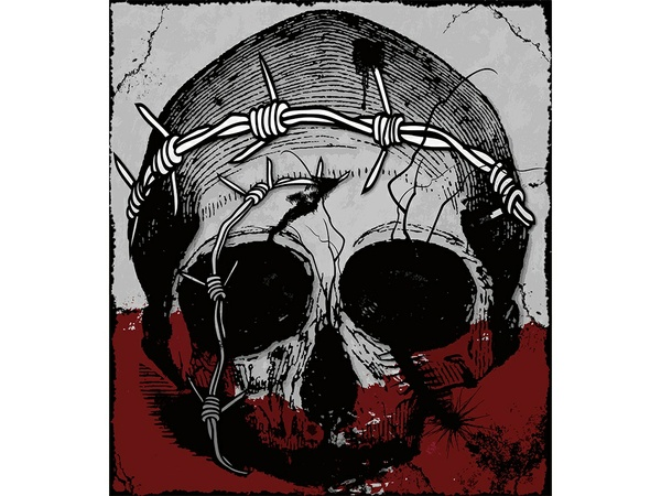 T-shirt Design Image - Skull In Grey - Red Color