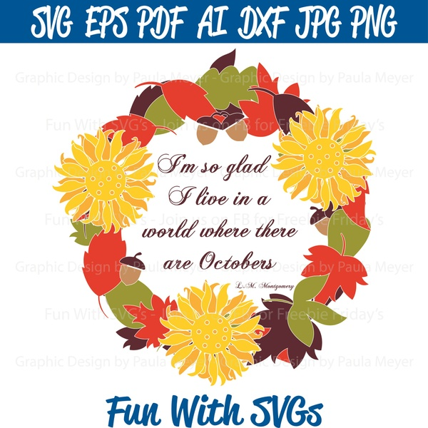 Fall Wreath Monogram - SVG Cut File, High Resolution Printable Graphics and Editable Vector Art