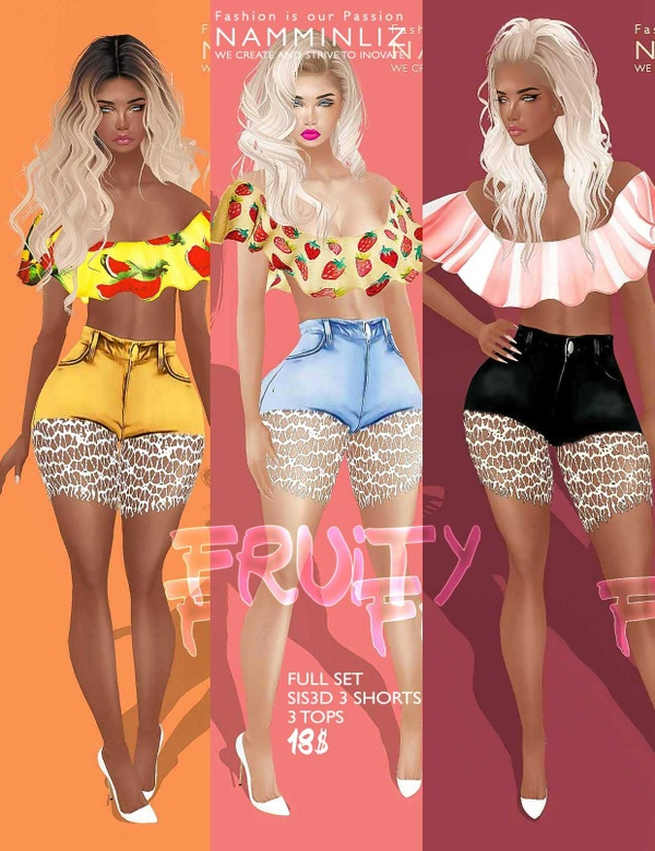 Fruity Full Set  • Shorts Sis3d + Top imvu Texture JPG