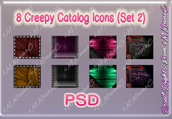 8 Creepy Catalog Icons (Set 2) PSD (Halloween)