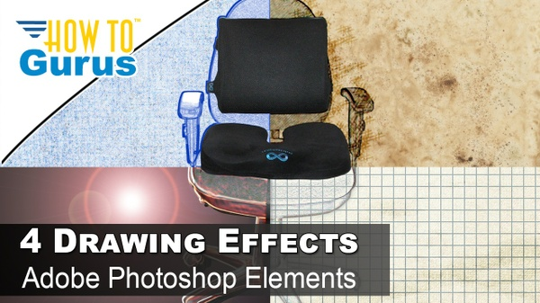 Review of Everlasting Seat Cushions plus 4 Drawing Effects in Photoshop Elements 2018 15 14 13