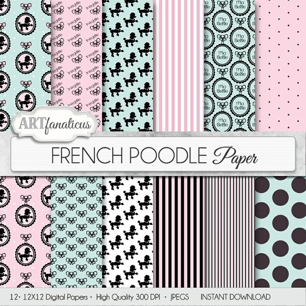 FRENCH POODLE - DIGITAL PAPER